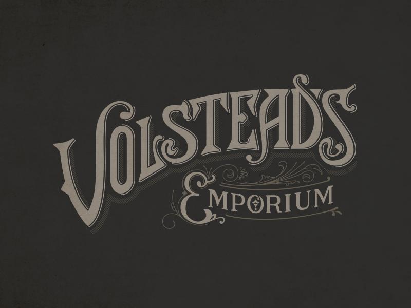 Volstead's logo hand drawn typography deco victorian