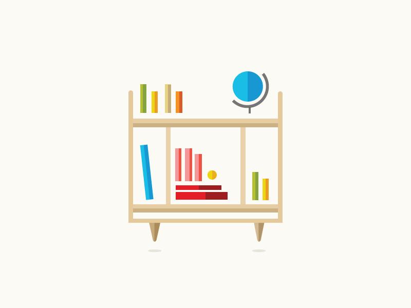 Bookshelf illustration midcentury