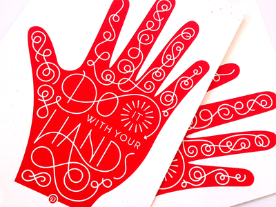 Do It With Your Hands sxsw red hand lettering screen print pinterest line palm