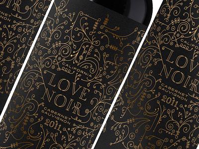 Love Noir wine lines floral gold foil packaging typography lettering illustration organic