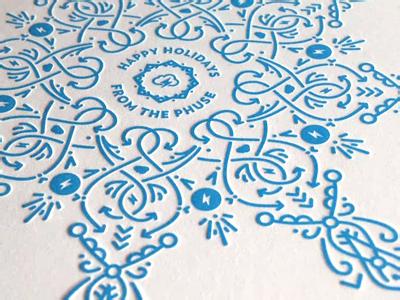 The Phuse Holiday Card snowflake line christmas winter snow arrow arrows print letterpress