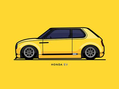 Honda EV illustration car electric electric car ev honda honda ev
