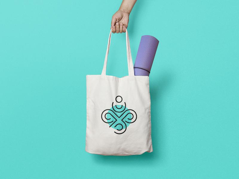 Om Studio lotus om maskot icon logo yoga