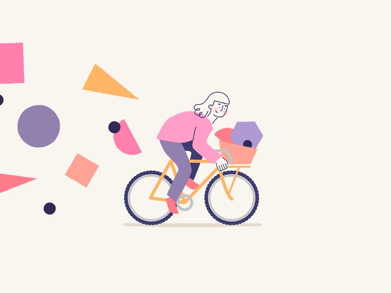 Ride & Discover commuter bike rack ride bike ride illustration shapes bike cycling cyclist