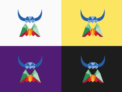 Yak logo colorful geometric low-poly program high-tech animal software yak