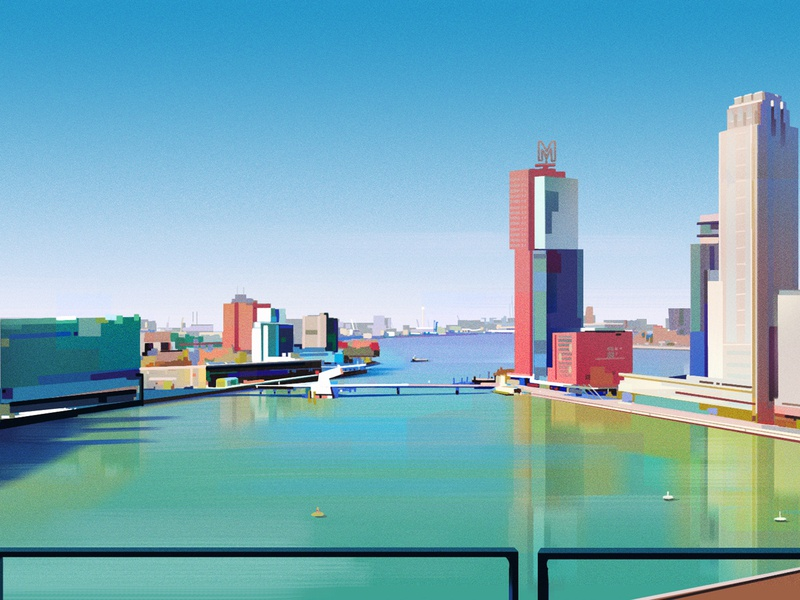 Rotterdam Daytime Sketch sketch city water sun view environment illustration rotterdam