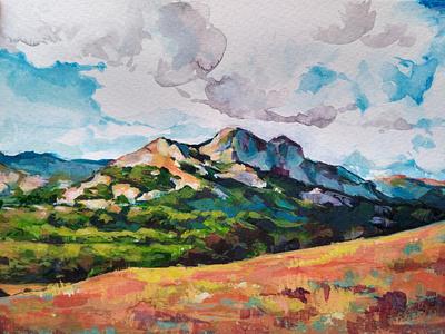 Mountain Gouache herzegovina bosnia painting gouache travel mountain environment