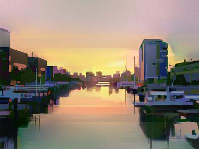 Rotterdam Study photoshop canal boats rotterdam sunset environment