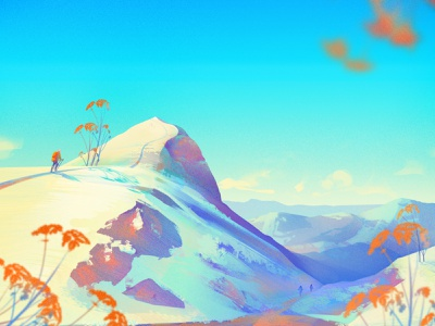Winter time photoshop hiking illustration travel mountain landscape winter