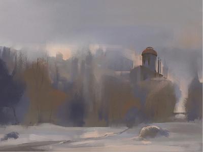 Winter Sketch morning trees winter environment illustration
