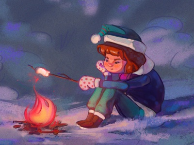 Late-night winter doodle marshmallow fire girl snow forest winter illustration