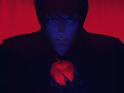 Death Note anime portrait dark red apple note death