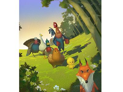 Reader Illustration photoshop kids turkey goose hen fox rooster chick forest animals environment illustration