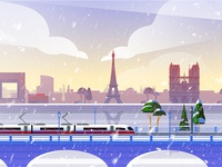 Rail Europe Holiday Card - Atomic Kid Studios - Paris