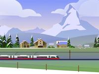 Rail Europe Holiday Card - Atomic Kid Studios - Switzerland