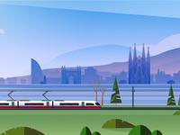 Rail Europe Holiday Card - Atomic Kid Studios - Barcelona