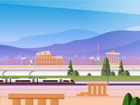 Rail Europe Holiday Card - Atomic Kid Studios - Rome