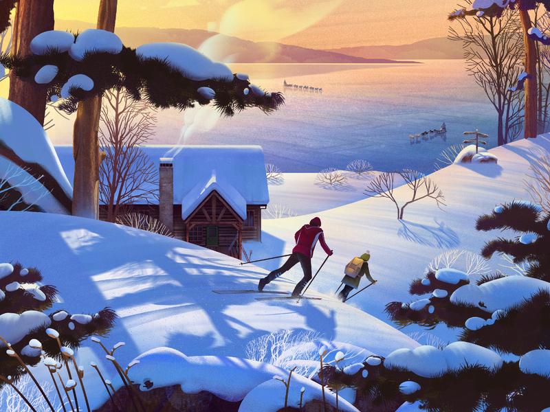 Exodus Travels: Winter Brochure lake snow cross-country skiing cottage sunset winter winter brochure exodus travel deborah wolfe illustration online