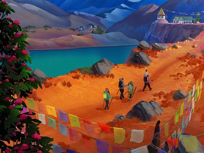 Exodus Travels: Trekking Brochure mountain prayer flags lake trakking people himalayas illustration environment