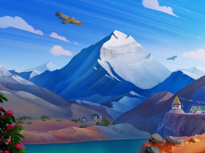 Exodus Travels: Trekking Brochure 2 mountain trekking lake bird himalayas illustration
