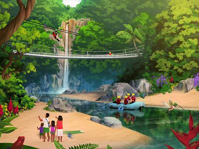 Exodus Travels: Family Brochure zipline trees waterfall river rafting illustration online exodus travels costa rica