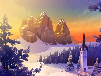 Exodus Travels Winter Brochure 2020 travel exodus snow illustration mountain sunset forest environment winter