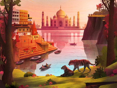 Exodus Travels Discovery and Wildlife Brochure 2020 travel sunrise india river ghats river ganges taj mahal boat tiger trees illustration forest environment