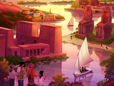 Exodus Travels Family Brochure 2020 enviroment illustration egypt family travelexodus nile memnon felucca philae aswan karnak sunset