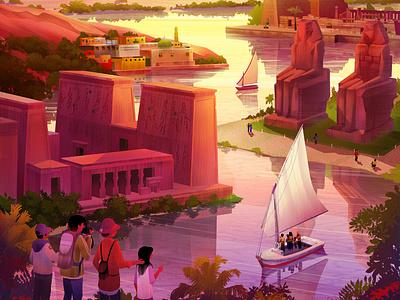 Exodus Travels Family Brochure 2020 enviroment illustration egypt family travelexodus nile memnon felucca philae aswan karnak sunset