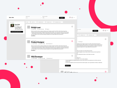 Designer Job Board epic filter job board job web design interaction figma design ux ui