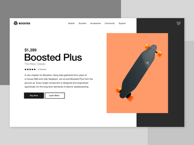 Boosted Plus skateboard boosted studio ui web design