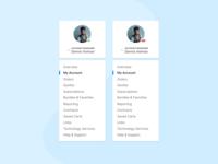 Dashboard Account Menu