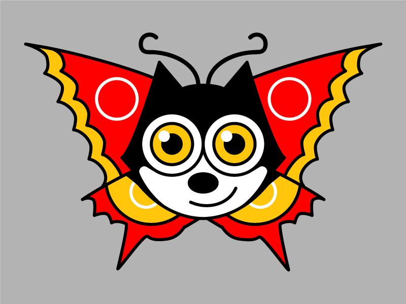 😺🦋 butterfly felix cat illustration