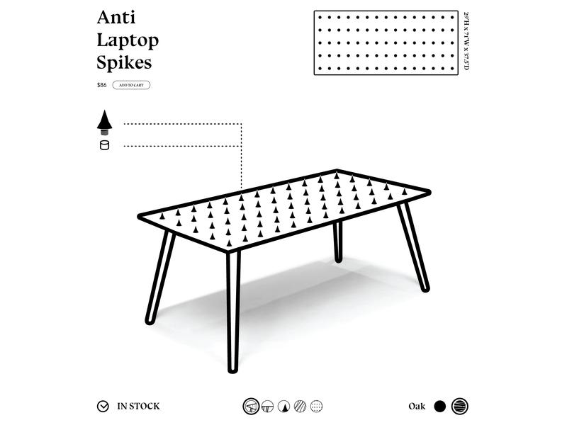 Anti-Laptop Table website web ux ui black  white black vector typography minimal illustrator illustration icon flat design clean type furniture