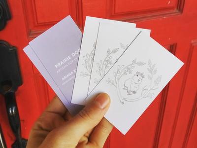Prairie Dog Artisan Pop Up Business Cards ceramics white purple lavender animal shop card illustration brand identity