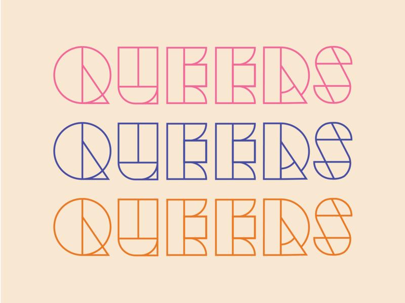 Queer x3 Typography experiement alternate gay lgbt queer type black clean illustrator icon flat design illustration