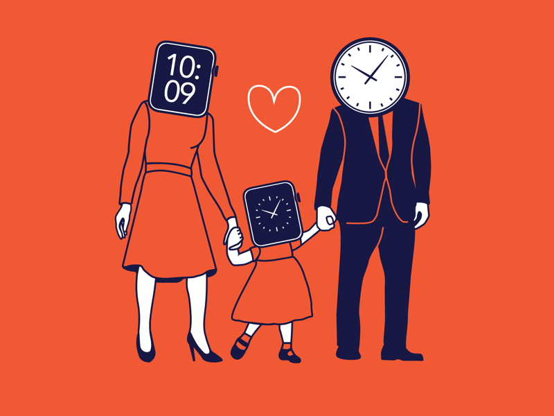 Family Time heart happy love home people figure illustration people graphic parody funny watch time child kid dad mom family purple