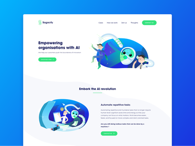 Sagacify - Home gradient robots robot illustration website blue artificial intelligence