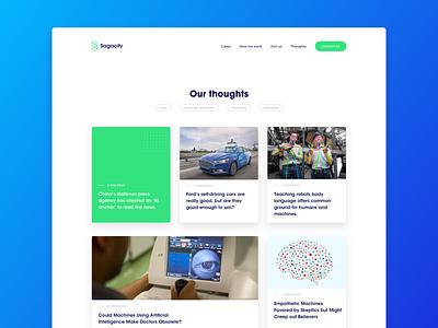 Sagacify  - Blog ux blog design design illustration blue gradient artificial intelligence robots robot blog website