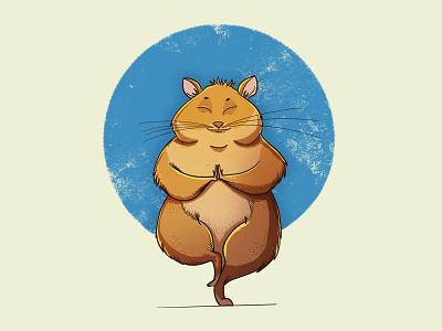 Yoga hamster characterdesign character art yoga hamster