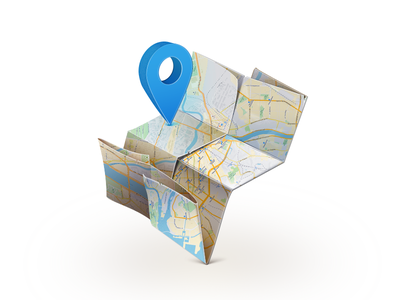 Map icon contact map marker origami shadow spb