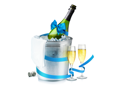 Champagne champagne bottle glass wineglass bucket towel ice icecube ribbon