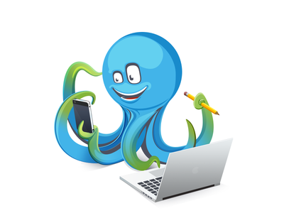 Octopus smile pencil pen phone smartphone notebook macbook octopus beget