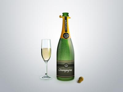 Champagne glass bottle champagne green wineglass
