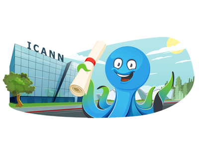 Octo take accreditation accreditation illustration happy tree sky icann octo octopus