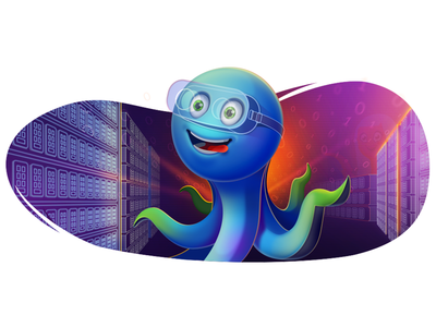 Octopus with VR glasses vps server glass vr beget octopus