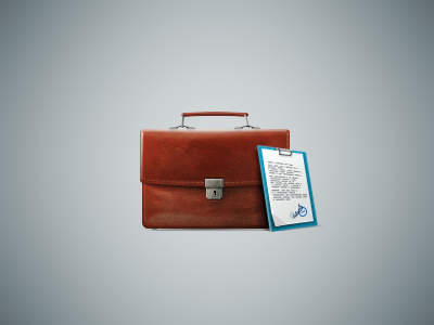 Briefcase icon case business tablet brown blue briefcase
