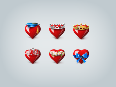 Hearts hearts gift social network red crown blue gold silver icons speck