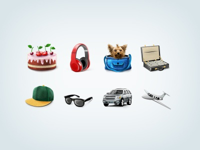 Gifts cake headset dog briefcase money cap glass car airplane gifts icons