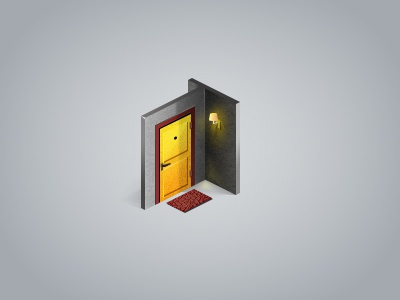 Door icon isometric door icon yellow gray